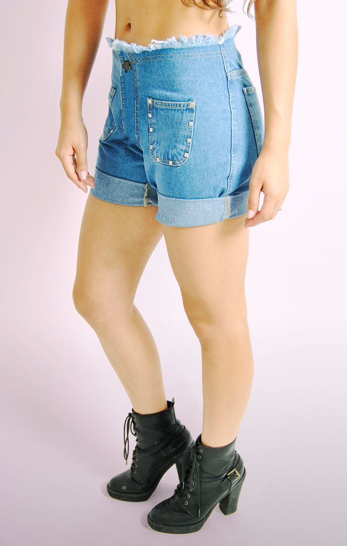 Ladies Womens Frayed Denim Shorts with Stud Detail Half Pant Jeans ...